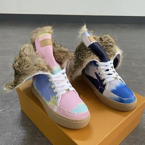 2021 Stivali di pelle Designer Stivali da donna Stivali da donna con vera pelliccia di coniglio di buona qualità Stivali del ginocchio invernale di buona qualità Scarpe vestito piatto con scatola EU35-42