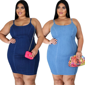 4XL 5XL Plus Size Women Clothing 2020 New Arrival Sexy Denim Jean Bandage Bodycon Mini Dresses Clubwear Party Casual Dresses Vestido