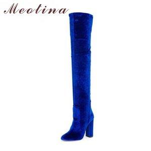 Meotina Plus de genou Bottes hiver de femme Bottes velours talon haut Cuissardes Automne Zipper Mode Femmes Chaussures stretch Bleu Rouge