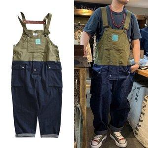 Hip Hop Комбинезон Мужчины Крупногабаритные Лоскутная Грузовой мужские брюки Functional Multi-карман Джинсовые брюки Мужские джинсы Уличная Worker