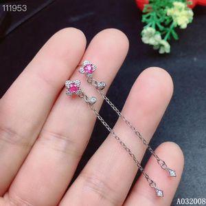 KJJEAXCMY 925 de plata de ley pendientes de color rosa naturales zafiro damas nueva moda gotas para los oídos prueba de sostenimiento