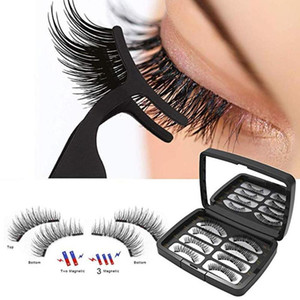 8pc set Make Up Dual Magnetic False Eyelashes Glue-free Reusable Magnet Fake Eyelashes with Tweezer Waterproof Extension Makeup