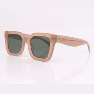 nude Translucent Tinted sunglasses chunky square frame women eye wear green lens 4IFS