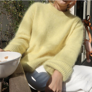 HAMALIEL Korean Chic Mink Cashmere Warm Women Sweater Winter Fashion Yellow Knitted Soft Tops Casual Long Sleeve Loose Pullovers Y200819
