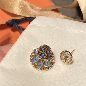 tribu colorée ronde détachable reprofilable or motif géométrique et boucles d'oreilles colorées boucles d'oreilles géométriques rayées