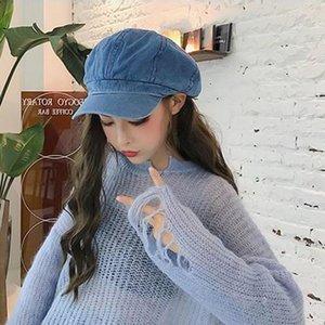 Mode octogonal Hat Les femmes coréennes Tout match Casual journal Boy Painter Lady Cap Automne Hiver Pure Color Mode Caps Femmes