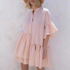 Sonbahar Düğme Standı Yaka fırfır Elbise Kadınlar Vintage Üç Çeyrek Kelebek Kol Düzensiz Elbiseler Katı Gevşek Şık Elbise