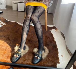 Nova moda com caixa de varejo completa longa carta G Meias Transparente meia-calça A21 Europa e América Moda Silk Stockings Sexy For Women A33