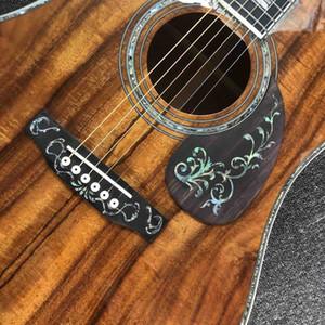Todo encargo Koa Wood Deluxe diapasón de ébano guitarra eléctrica acústica con electrónica EQ Pickup