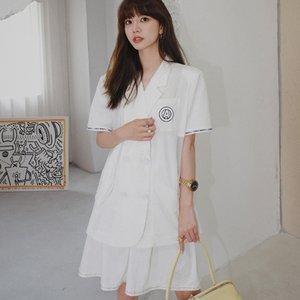 Estate Un abito sciolto temperamento eccellente nuova moda mini minigonna corta + overskirt JK uniformstyle vestito oxtIZ