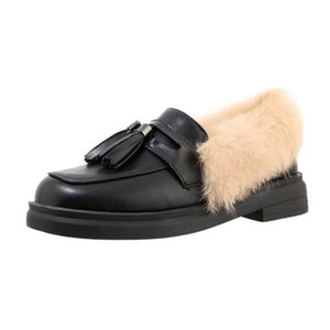US4-12 Womens Real Fur Backless Tassels Loafers Mule Princetown Shoes Mules Warm Winter Plus Size 2Colors