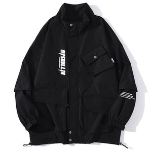 Cargo Giacche Mens Hip Hop Multi-Tasche Cappotti 2020 Giacca Autunno Streetwear pista cappotti Outwear