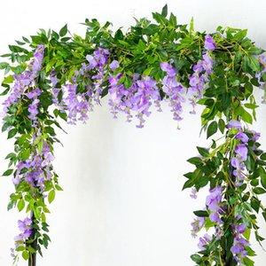 핫 2M 등나무 인공 꽃 덩굴 화환 웨딩 아치 장식 벽 아이비 꽃 따라 단풍 위커 식물