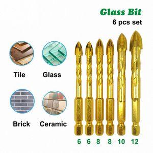 """6PCS / Set 1/4"""" Hex хвостовик Twist стек Биты Titanium Ceramic Сверления Сверло Набор 6-10 12мм Плитки Бетон Крест Подсказки Отверстие Bit Tile d7EG #"""