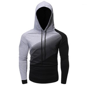 Sweater Fashion Trend Casual solta pulôver com capuz Homens com capuz Suor Hoodie Homme camisola manga comprida homem Colorblock com capuz