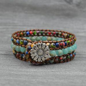 1 Pc Boho Handmade Natural Stone Bead 3 Wraps Leather Bracelet Energy Multifarious Beaded Bracelet for Women Men