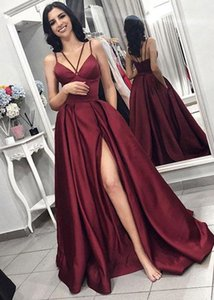 Satsweety Evening Dresses elegant Prom Dress with slit 2021 women satin formal party gown robe soiree vestido de festa