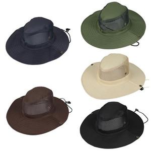 New Verão respirável malha chapéus da praia Homem Aba larga Sun proteção ultravioleta-prova dobrável chapéu de balde de pesca chapéu ao ar livre