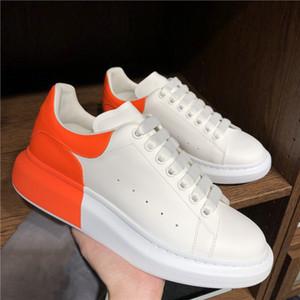 Moda Hombres Mujeres Zapatos Casuales Zapatillas de deporte Plataforma Partido Zapatos Zapatos Entrenador de moda Cuero de cuero blanco CHAUSUSURES