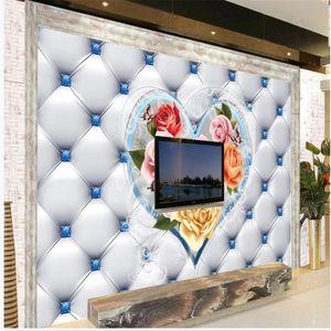 European luxury diamond wallpapers soft package 3d murals wallpaper for living room 3d wallpapers
