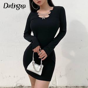 Darlingaga ребристые Цепь с длинным рукавом осень зима платье мини моды Bodycon тонкий вскользь платье Женщины Мини Черный Платья Vestidos
