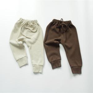 FM Korean INS Quality Great Autumn Kids Little Boys Straps Pants Ribbed Cotton Autumn Elastic Wasit Trousers Spring Children Girls Trousers