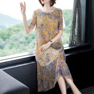 R4YlE IMVG8 2020 vestido nuevo temperamento Put madre put madre vestido de verano de mediana edad floja mujeres de gran tamaño de la mujer elegante y digna fashio