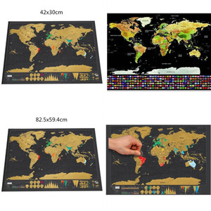 Mapa do Mundo Preto Erase BlackboardDeluxe zero mundo adesivos de parede de viagem personalizada do risco Poster Foil camada de revestimento Edição