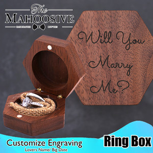 Wood ring box Luxury Custom Logo Walnut Wooden Wedding Jewelry Rings Box Wood jewellery box