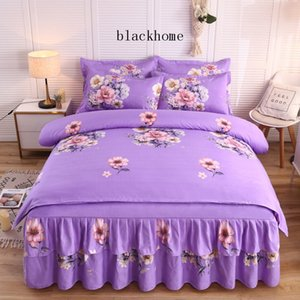 Romantic Purple Flower Bed Sheet Suit 4 Pieces Retro Home Use Bedding Sets Full Queen King Bed Sheet Cover