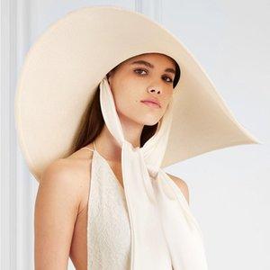 Ampla mulheres Verão Branco 25 centímetros Brim DESPROPORCIONADOS Chapéu de Sol Suave Silk Tie Ribbon Floppy Cap praia gigante Straw Hat Kuntucky