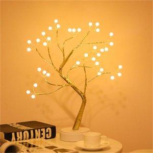 Explosive notte creativa lampade albero perla condotto leggero tocco di colore dello schermo di filo di rame luce luce del regalo di Natale luci tavolo decorazione
