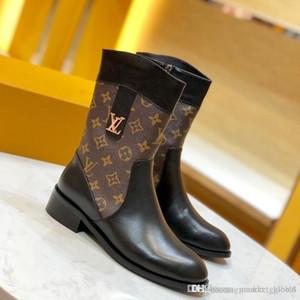 2020 nova Sapatinho das mulheres Botas desenhista calça de couro Martin Botas Moda Top com caixa Mulheres Plano Side Side Zip Boot sapatos 35-41