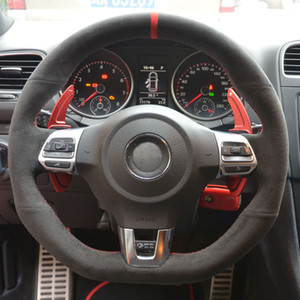Black Alcantara Cubierta de volante cosido a mano para Volkswagen Golf 6 GTI MK6 VW Polo GTI Scirocco R Passat CC R-Line 2010
