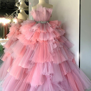 New Chic Tiered Tulle Prom Dresses Robe De Soiree Long Evening Dress 2020 Kaftans Turkish Celebrity Party Gown Middle East Plus Size