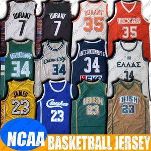 NCAA Vincent HS LeBron 23 James Jersey YUNAN Giannis 34 Antetokounmpo Formalar 8-11 Kevin 35 Durant Jersey Koleji Basketbol