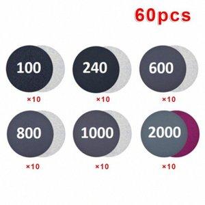 60pcs / set Gancho 100-2000 Grit húmedo / seco del papel de lija de disco y el bucle de lijado pad ZhEU #