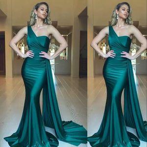 Yeni Seksi Koyu Hunter Yeşil Abiye Mermaid Tek Omuz fırfır Örgün Parti Ünlü Balo Modelleri Özel For Women Durum Wear Wear