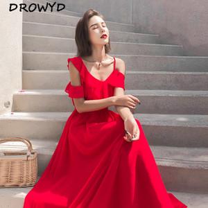 DROWYD 여름 보헤미안 등이없는 섹시한 맥시 드레스 여성 레드 쉬폰 캐주얼 우아한 보헤미안 슬링 비치 클럽 파티 드레스 Vestidos