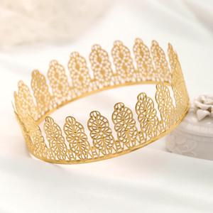 Cabelo AiliBride Ouro Rodada Crown Rei Rainha Tiara casamento da noiva headpiece Homens Partido Crystal Hair acessórios jóia do casamento presente
