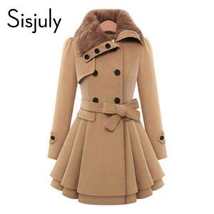 Wholesale- Sisjuly women winter autumn trench coat brand woolen coat double breasted long sleeve belt red slim womens khaki trench coat