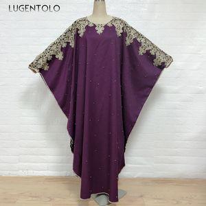 Lugentolo Women Elegant Dress Embroidery Loose Beaded Fashion Muslim Long Bat Sleeve Dress O-neck Large Size Lady Maxi Dresses