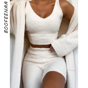 BOOFEENAA 캐주얼 양털 니트 스웨터 두 조각 라운지 세트 코지 섹시한 V 목 자르기 최고 반바지 겨울 의류 여성 C97-EZ28 T200821 가을
