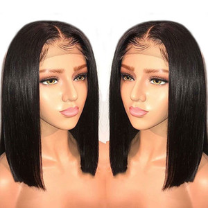 Wholesale 12 14 16inch European And American Style Black Short Front Lace Synthetic Semi Hand Woven Long Bangs Wig Cover
