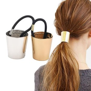1Pcs Women Punk Gothic Fake Metal Hair Cuff Ponytail Clip Tie Holder Hair Band Elastic Wrap Accessories Rope Rings
