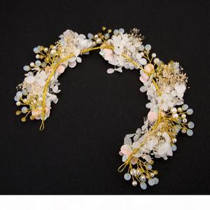 A Luxury Sposa Accessori per capelli Rosa Fiore di cristallo fascia nuziale Pearl floreali Beach Wedding Tiara capelli dei monili copricapo del partito