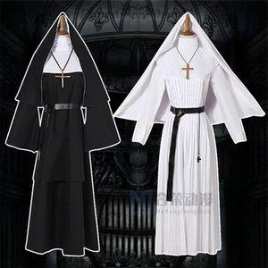 7BJRG Geist anime THE Helong Er Halloween seltsame coswear Lange Cartoon Nonne NUN Priester cosplayen Gewand weiß Cosplay