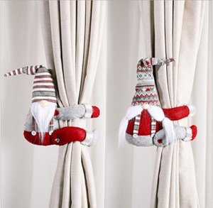 Curtain Doll Tape Christmas Curtain Doll Hanging Ornaments Stripe Santa Claus Window Decoration Christmas Gifts Home Decor Supplies DHF1367