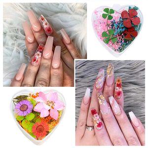 Высушенные цветы смешанных цветов цветов Nail украшения Природные цветочные наклейки 3D Сухое красоты Nail Art Таблички для УФ-гель польский