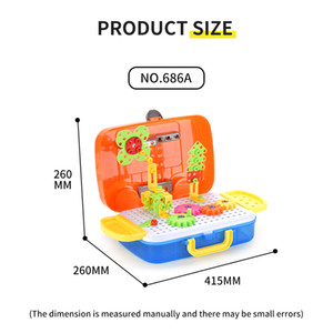 Children's Toys Portable jigsaw gear suitcase Educational toys jigsaw puzzle Building block gear model Gifts for children Early education ps